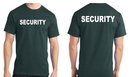 Green Security T-Shirts with White Print