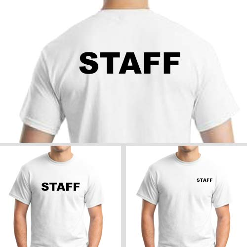 White Staff T-Shirts with Black Print